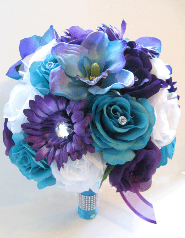 Wedding Bouquet 17 piece Bridal Silk flowers PURPLE DAISY TURQUOISE     Wedding Bouquet 17 piece Bridal Silk flowers PURPLE DAISY TURQUOISE BLUE  ORCHID   eBay