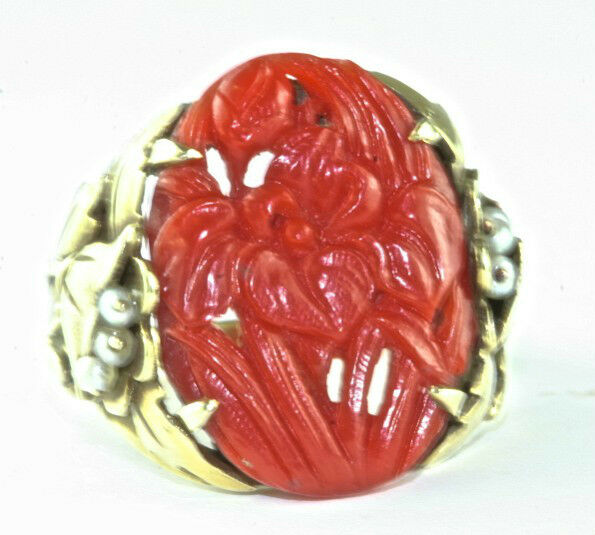 Rare Chinese Antique 14k Gold Carved Coral Carnelian Iris Flower Pearl Ring Ebay