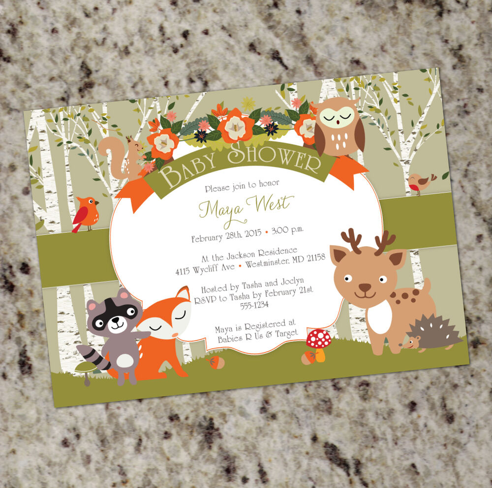 Woodland Shower - Forest Animals Baby Shower Invites ...