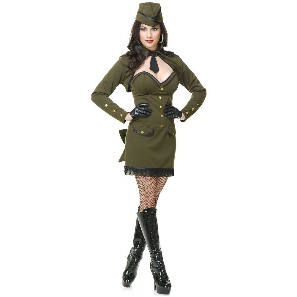Army Girl Costume Adult Sexy 40s 50s Pin Up Halloween ...