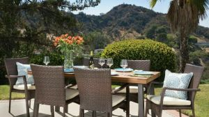 Castlelake 7 Piece Outdoor Dining Set (Wood Table W