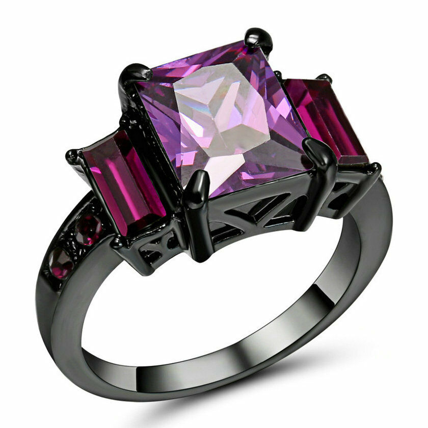 Purple Amethyst Cz Engagement Ring Black Rhodium Plated Wedding Band Size 9 Ebay