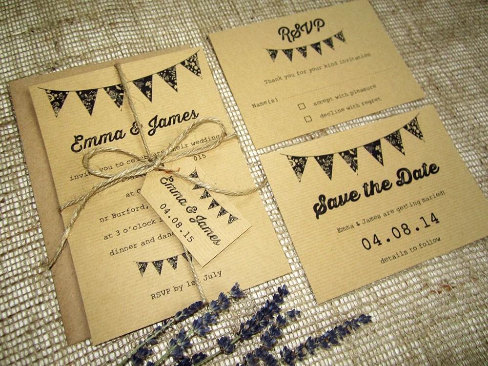 Rustic Wedding Invitations Bunting