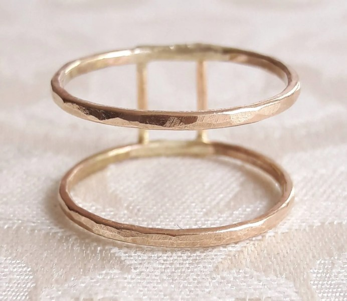 Double band ring   Etsy Double Band Ring   Stackable Ring   Hammered Gold Ring   Midi Ring    Parallel Bands   Sterling Silver Ring   Wide Ring   Gold Fill Rings
