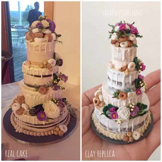 Wedding Cake Replica Wedding Cake Ornament 1st Anniversary   Etsy image 0