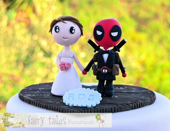 Deadpool Wedding Cake Topper with Stand   Etsy image 0