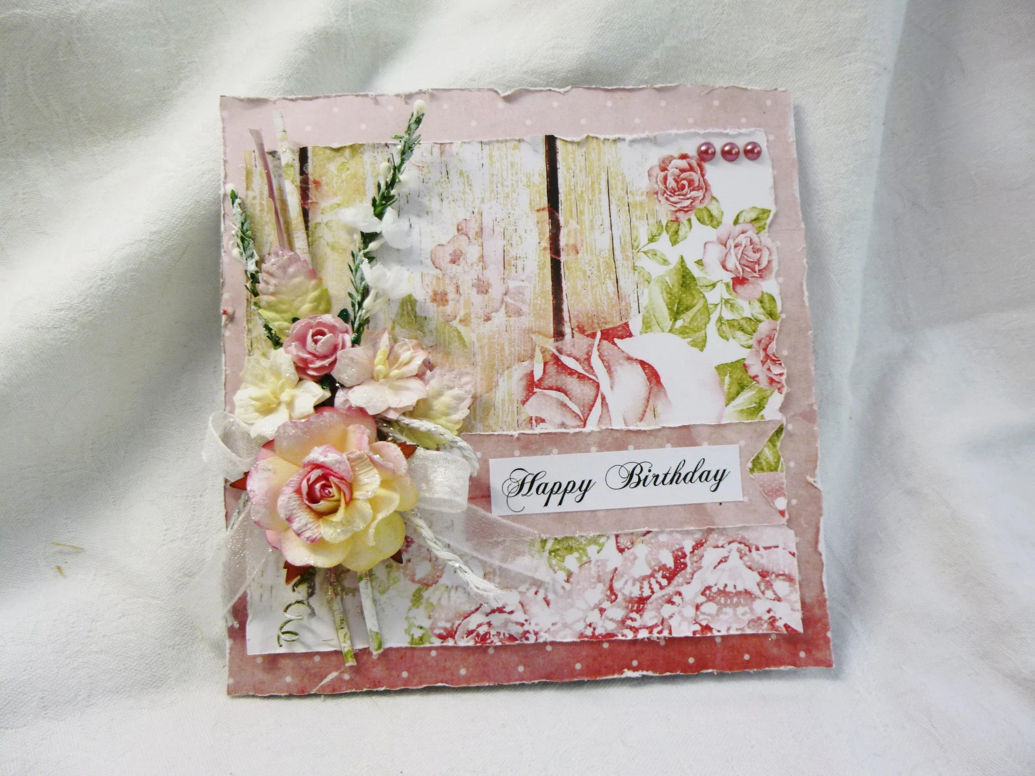 Shabby Chic Card Birthday Card Pink And White Happy