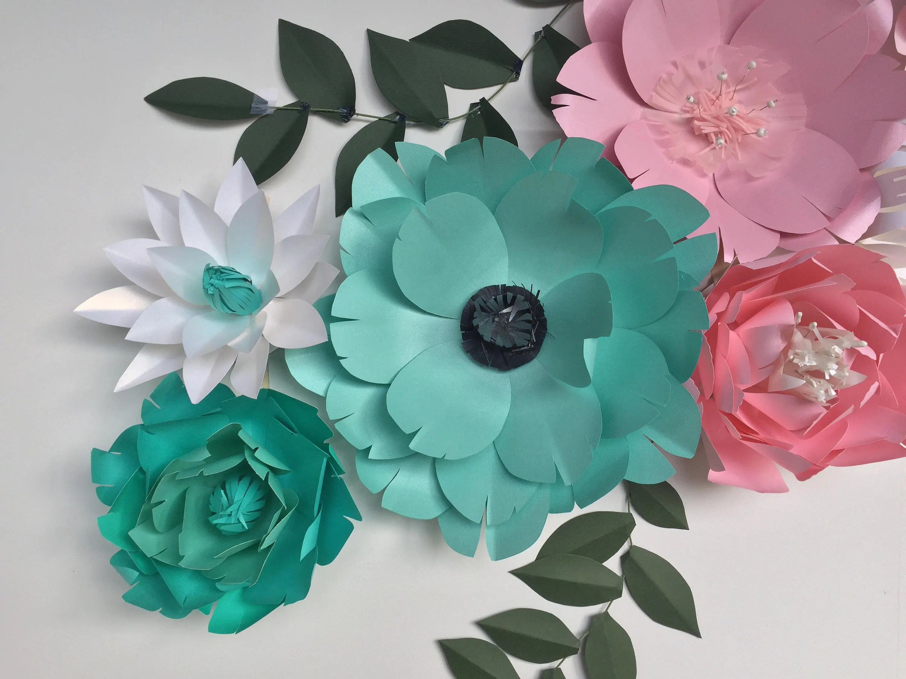 Turquoise wall decor paper flowers wall decor baby girl nursery teal     gallery photo gallery photo