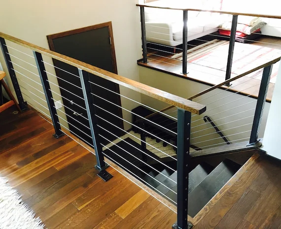 Surface Mount Cable Railing Posts And Components Etsy | Cable Stair Railing Indoor | Exterior Irregular Stair | Vertical | Wood | 90 Degree Stair | Stainless