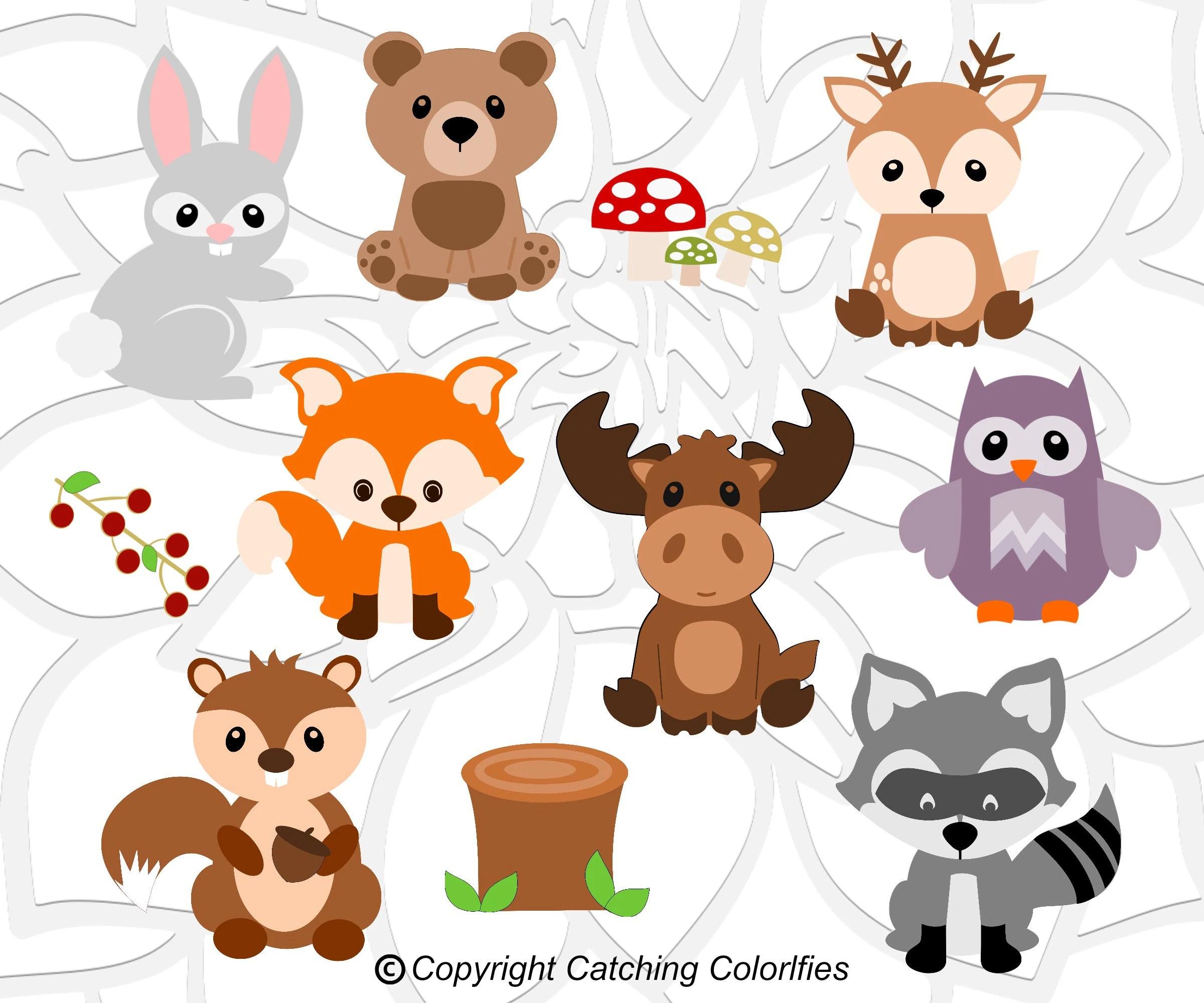 Woodland Animal SVG Cut Files Set Baby Shower and Nursery ...