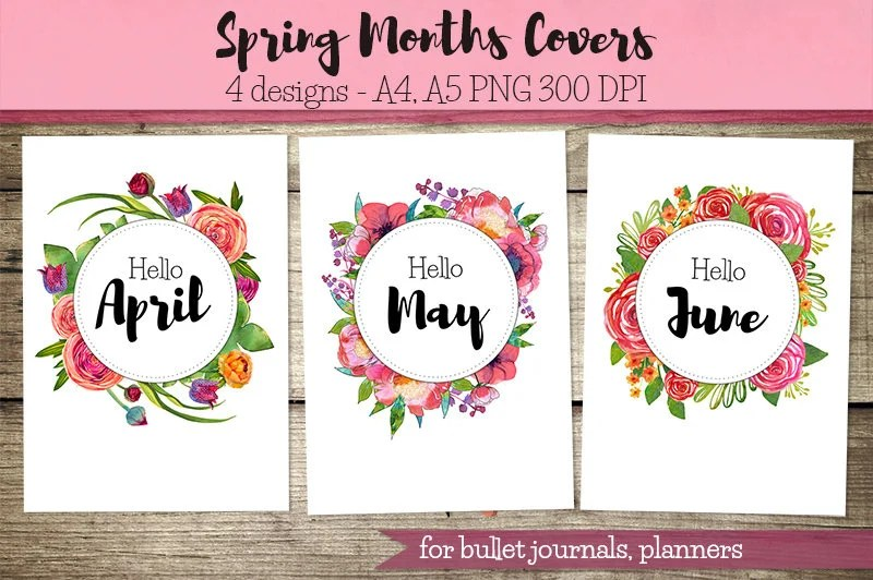 Spring Months Covers For Bullet Journal Planner Hello Etsy
