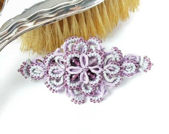 Hair accessories   Handmade tatting lace jewellery and decorations Romantic lace hair slide  Hair accessory  Hair pin  Lilac  Grey  Handmade