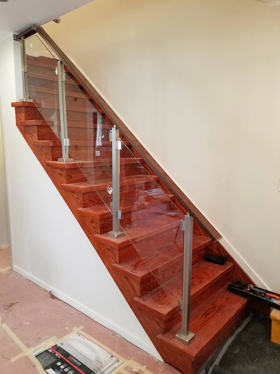 Modern Square Stairs Balcony Glass Hand Rail Staircase Railing Etsy   Wooden Handrail With Glass   Contemporary Wood Glass   Oak   Timber   Staircase   Steel