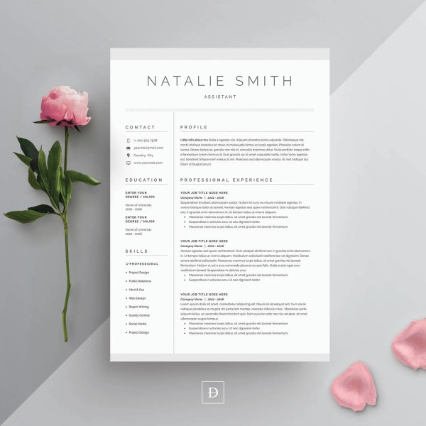R    sum     Templates   Etsy Resume Template 4 page   CV Template   Cover Letter for MS Word   Instant  Digital Download    Natalie