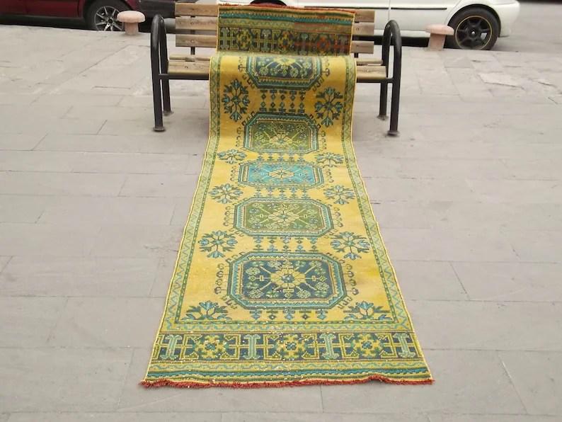 Vintage Runner Carpet346X87Cm 11 3X2 8 Feethallway Etsy | Hallway Carpet Runners Sold By The Foot | Rug Depot | Hall | Woven Rug | Wool Rug | Fleur De Lis