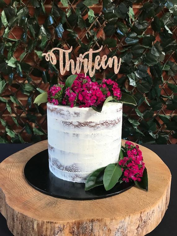 13th Swirly Modern Birthday Cake Topper Party Deco Etsy