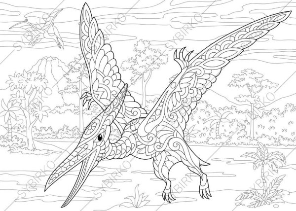 pterodactyl coloring page # 11