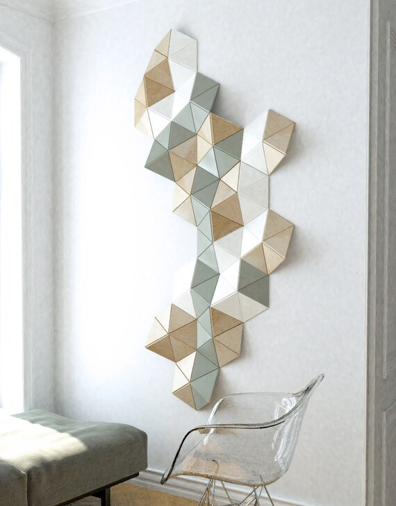 3d Wall Art/ wall sculpture/ geometric art/ wooden wall decor/ Etsy