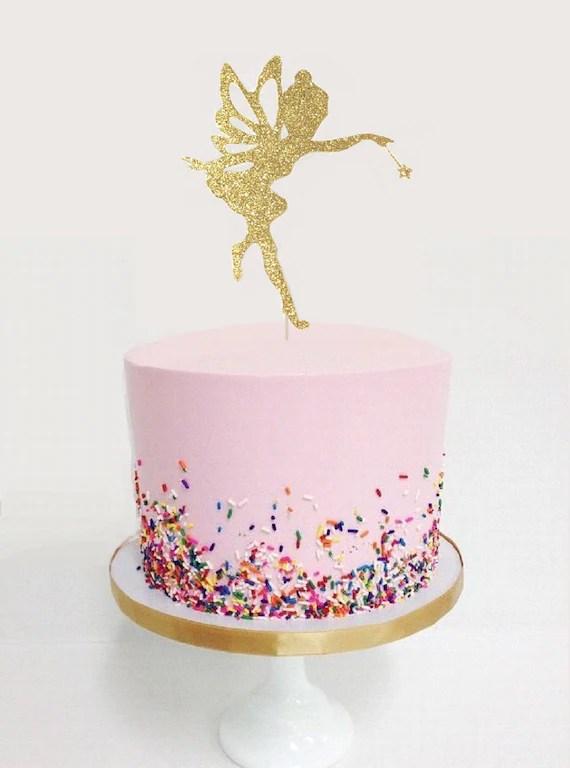 Fairy Glitter Cake Topper Tinkerbell Cake Topper Fairy Etsy