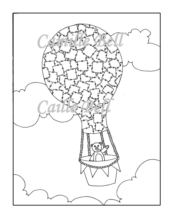 hot air balloon coloring pages # 67