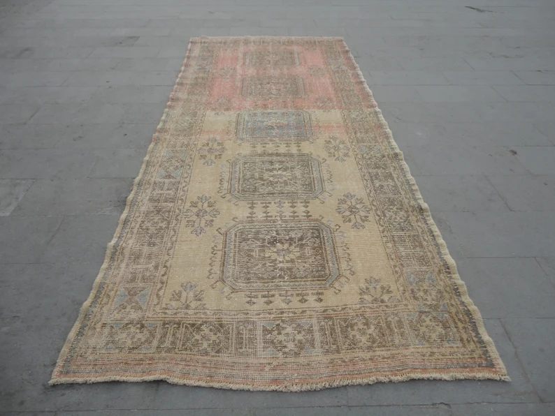 Faded Aisle Runnervintage Long Wide Kitchen Rug Hallway Rug Etsy | Low Pile Carpet For Stairs | Wool | Carpet Wrapped | Hallway | Bedroom | High End