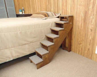20 38 Tall Wood Pet Stairs Handmade Folding Pet Etsy   Stairs Made Of Wood   5 Step   Elegant   Solid Oak   Traditional   3 Step