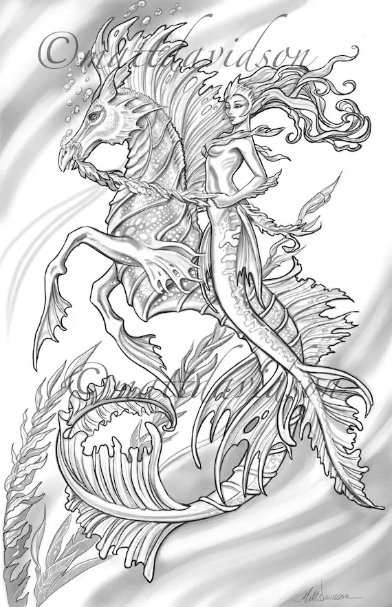 mermaid coloring pages for adults # 38