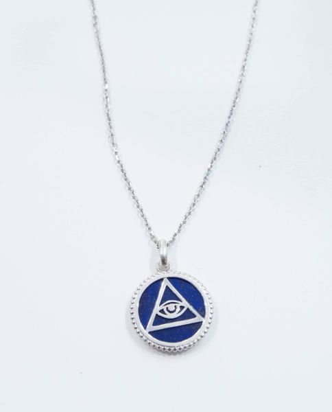 925 Silver sterling medal Illuminati 3rd eye symbol  Eye of     925 Silver sterling medal  Illuminati  3rd eye symbol  Eye of Providence on  lapis lazuli stone