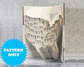 Cut and fold combi   Etsy Book Folding Pattern   US States Map   Cut Fold Combi  401 Pages  2 Pattern  Formats   Free Tutorial   Free Practice Pattern   Literary Gifts