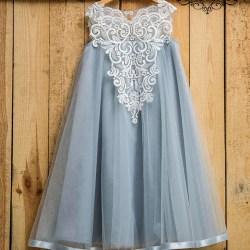 3682d3b4399 Dusty Blue Flower Girl Dress Boho Rustic Flower Girl First Etsy