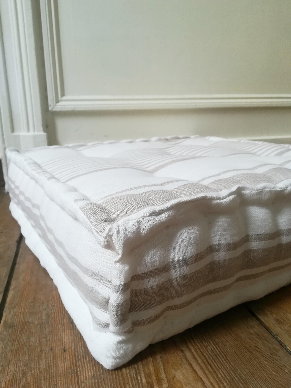 Tufted Linen Bench Cushion Custom Floor Pillow Stripe