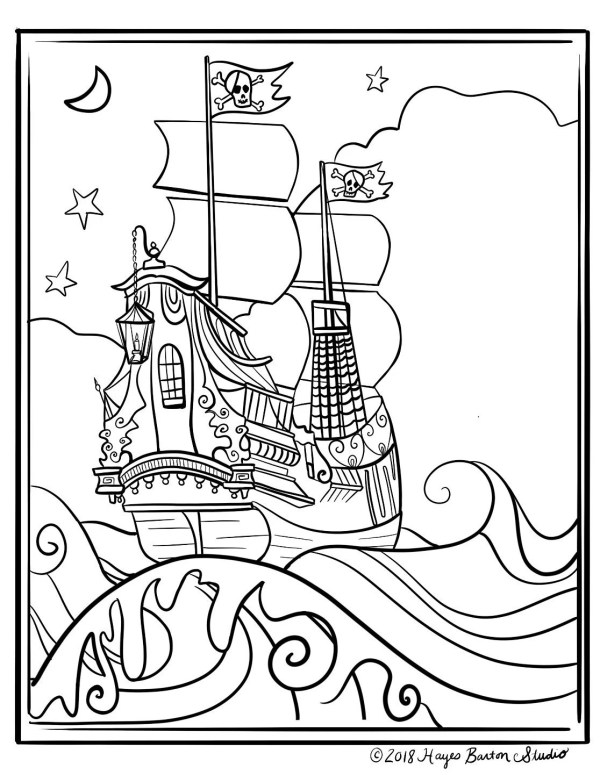 pirate ship coloring pages # 7