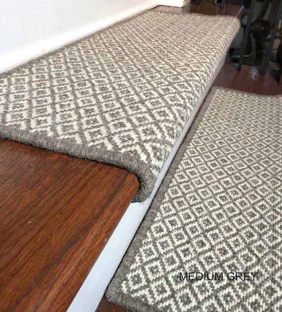 Padded Wool Carpet Stair Treads Breckenridge Grey Medium Etsy | Installing Carpet Stair Treads | Anti Slip | Bullnose Carpet | Stair Risers | Indoor Stair | Wooden Stairs