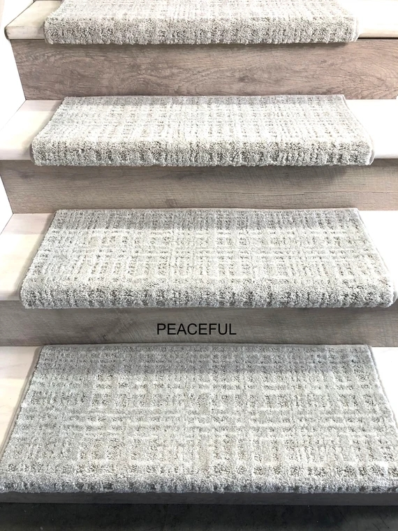 Padded Carpet Stair Treads Crossroads Peaceful Etsy | Padded Carpet Stair Treads | Stair Risers | Adhesive Padding | Bullnose Padded | Staircase Makeover | Flooring