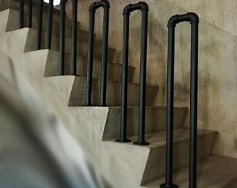 Pipe Rail Etsy | Black Pipe Stair Railing | Industrial Farmhouse | Iron Pipe | Banister | Diy | Wrought Iron
