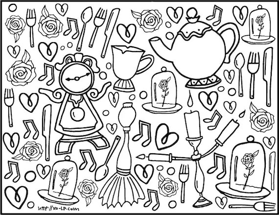 beauty and the beast coloring page # 59