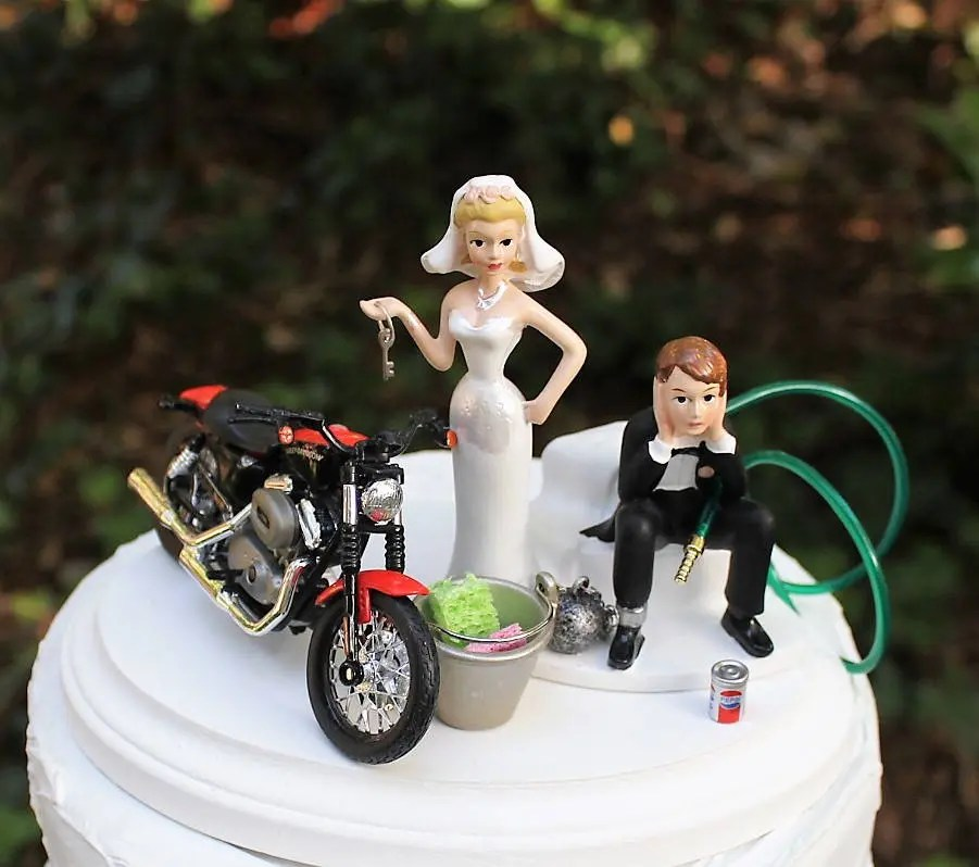 Motorcycle Wedding Cake Topper Bride and Groom Harley   Etsy image 0