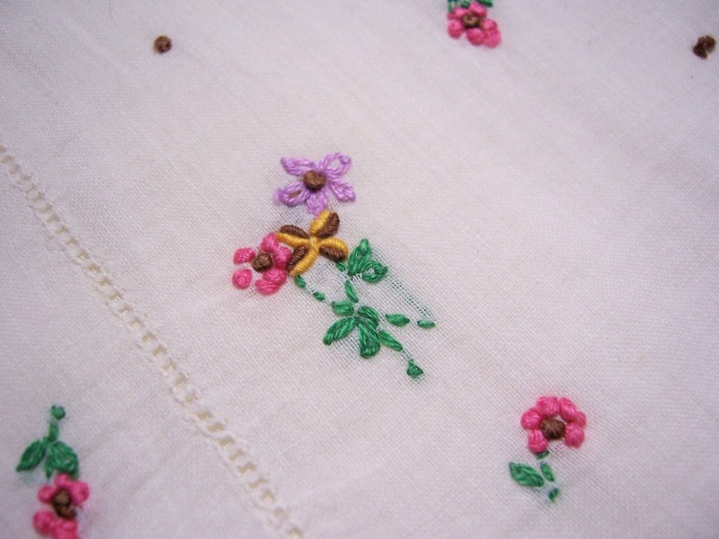 Vintage flowers   Etsy Vintage Floral Emroidered Handkerchief emboidered flowers