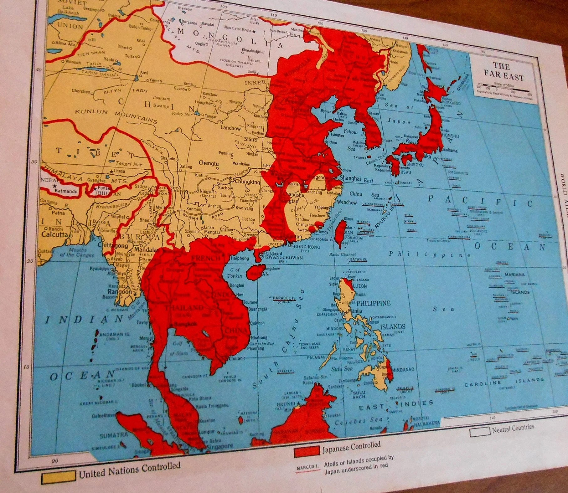 Old War Map of the Far East 1940s Asia Historical map 1945