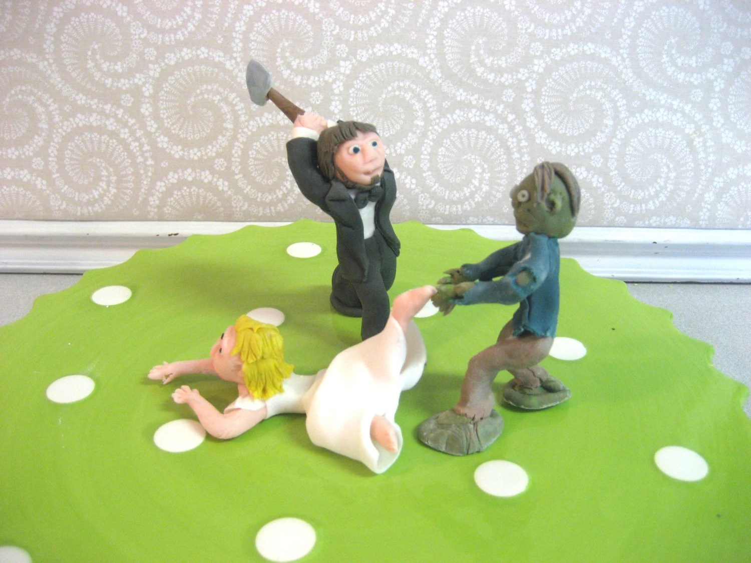 ZOMBIE Wedding Cake Topper Custom Zombies Made to Order   Etsy image 0