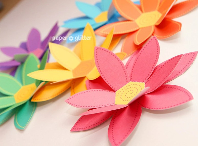 Paper Flowers Rainbow Paper Craft Set 2 sizes Printable   Etsy image 0