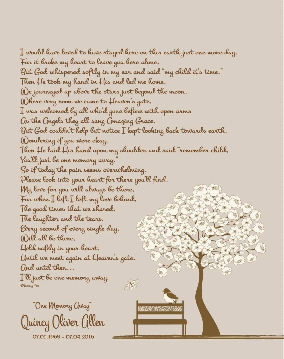 Memorial/Remembrance Gift-Sympathy Poem-Loss of