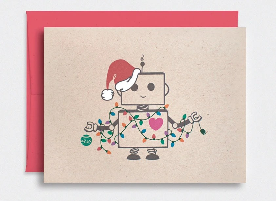 Funny Christmas Card Cute Robot Santa Kawaii Holiday Card ...