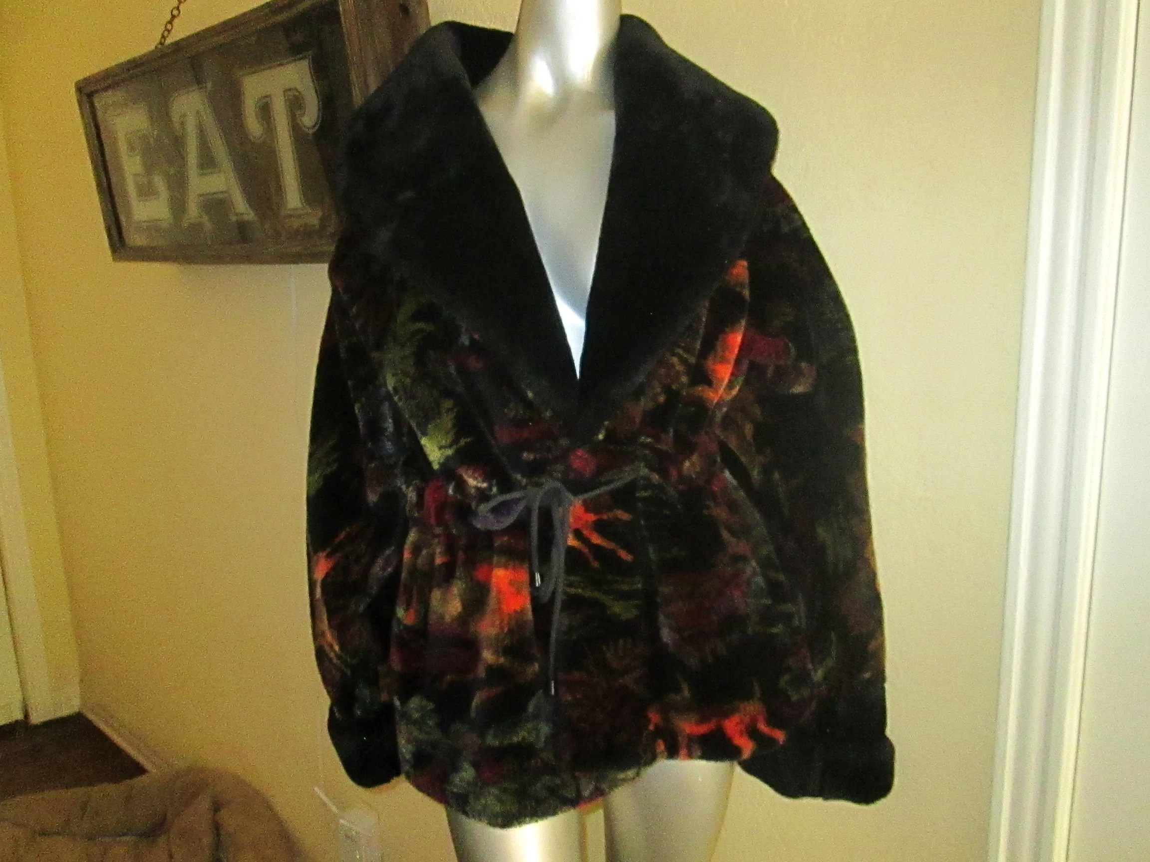 Monterey fashions   Etsy Vintage Fake Fur Black Multi Color Car Coat M L Monterey Fashions   FAB
