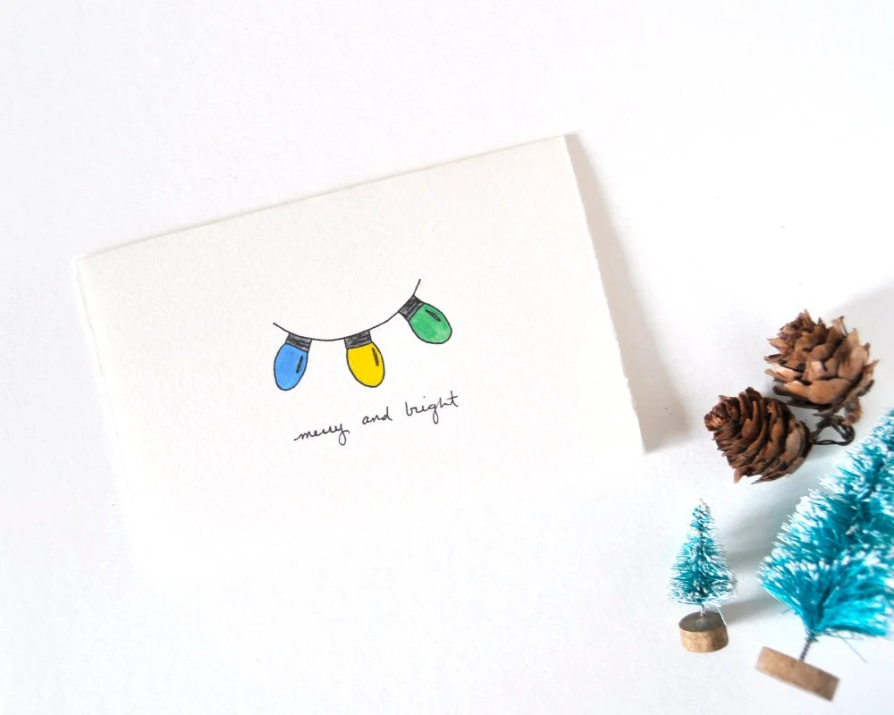 Cute Christmas Card Simple Christmas Lights Drawing Merry ...