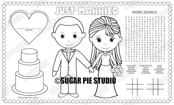bride and groom coloring pages # 37