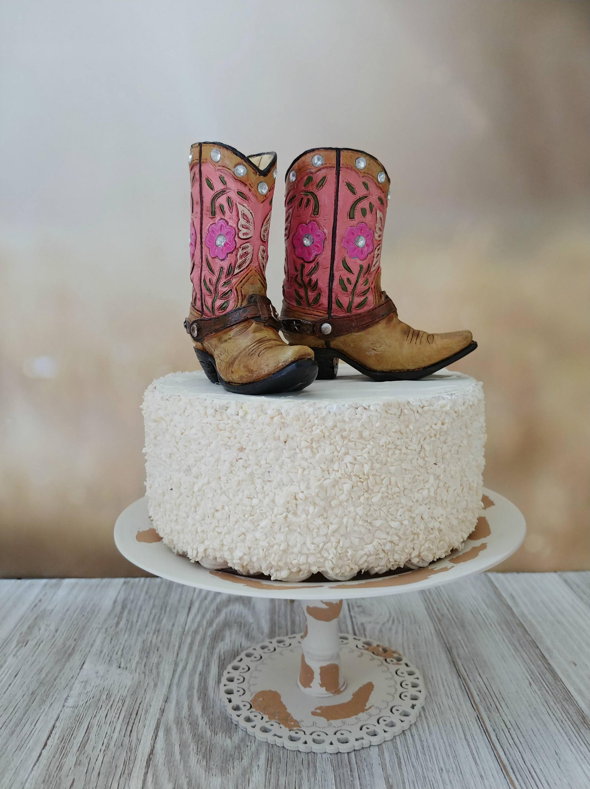 Pink Cowgirl Boot Cake Topper Birthday Cake Topper Bride