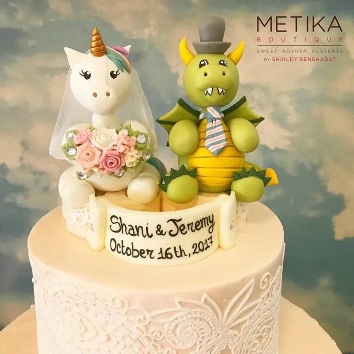 Wedding cake topper unicorn bride and dragon groom cake   Etsy image 0
