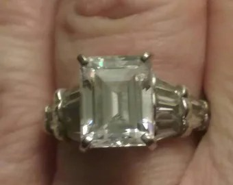 Vintage emerald cut engagement ring   Etsy Vintage Engagement Ring  Vintage Cathedral Set Engagement Ring  Emerald Cut  Engagement Ring