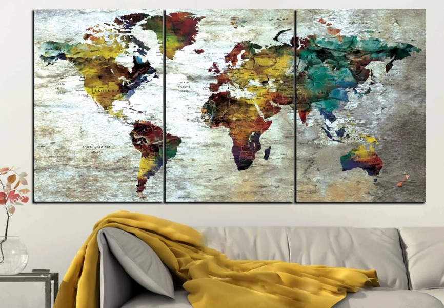 Detailed Push Pin Map Large Canvas Panel World Map Wall Art Large     Detailed Push Pin Map Large Canvas Panel World Map Wall Art Large World Map World  Map Canvas World Map Print World Map Art Push Pin Map Art